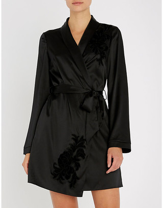 Myla Primrose Hill floral-embroidered silk-satin robe