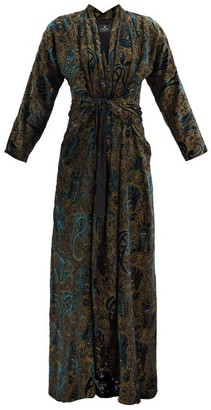 Etro Gathered Paisley-velvet Devore Maxi Dress - Dark Blue