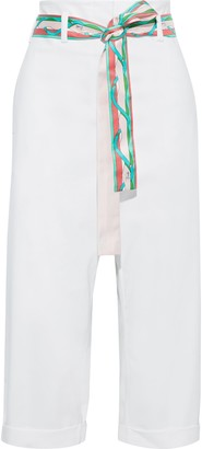 Emilio Pucci Cropped Belted Sateen Straight-leg Pants