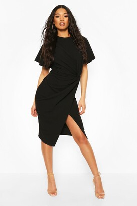 boohoo Angel Sleeve Twist Detail Midi Dress
