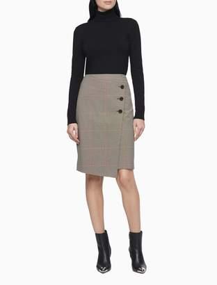 Calvin Klein Plaid Straight Pencil Skirt