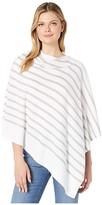 Eileen Fisher Peruvian Organic Cotton Poncho (White/Dark Pearl) Women's Clothing