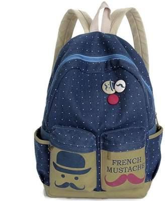 Unbrand Fashion Canvas Dot Mustache Travel Hiking Backpack Rucksack School Shoulder Bag Satchel