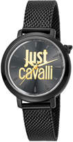 Just Cavalli 34mm Logo Stainless Steel Bracelet Watch, Black