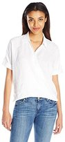 7 For All Mankind Women's Draped Crossfront Shirt in
