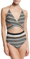 Gottex Regatta Metallic-Stripe Cutout Swimsuit, Black/White