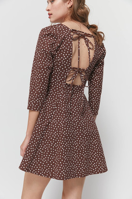 Urban Outfitters Stella Polka Dot Tie-Back Mini Dress