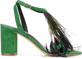 Jean-Michel Cazabat feather detail open toe sandals - women - Leather/Suede/Feather - 38.5
