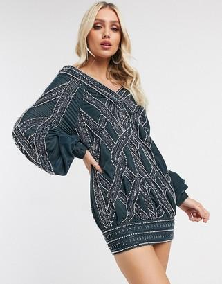 Asos Design DESIGN slouchy velvet oversized mini dress with cable artwork-Blue