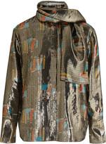 J.W.Anderson Printed silk-blend lamé shirt