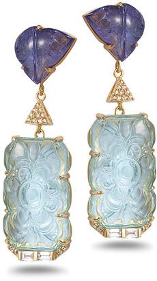 Coomi Affinity 20K Carved Aquamarine Earrings