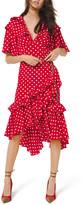 Michael Kors Dot Asymmetric Ruffle Dress