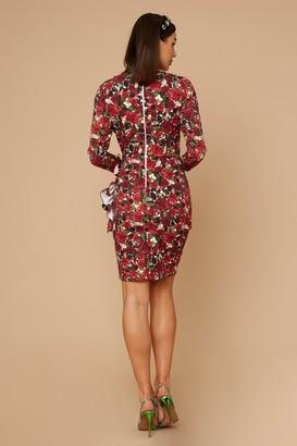 Little Mistress Wren Rose-Print Long sleeve Mini Dress