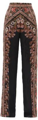 Etro Palazzo Floral-jacquard Trousers - Black Multi