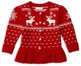 Ralph Lauren Infant Girls' Reindeer Peplum Cardigan - Sweater - Sizes 3-12 Months