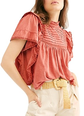 Free People Le Femme Ruffled Crochet Top