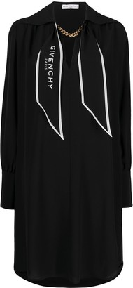 Givenchy Logo-Scarf Silk Shirt-Dress