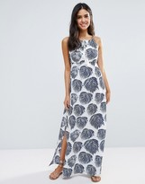 Liquorish Leaf Print Maxi Beach Dress