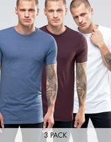 Asos 3 Pack Longline Muscle T-Shirt In Oxblood/White/Blue Marl