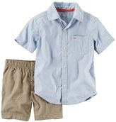 Carter's Toddler Boy Short Sleeve Stripe Button-Down Shirt & Canvas Shorts Set