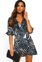 Pink Boutique Jungle Chic Grey Animal Print Frill Detail Wrap Front Mini Dress