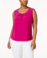Anne Klein Plus Size Pleated Scoop-Neck Top