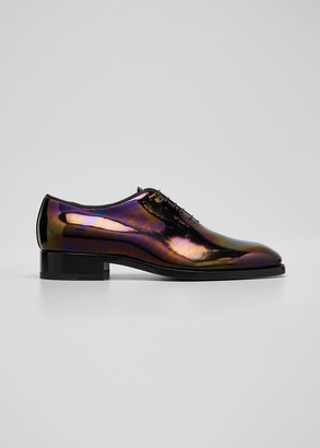 Christian Louboutin Men's Corteo Iridescent Patent Leather Lace-Up Shoes