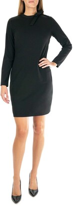 Nina Leonard Long Sleeve High Tie Neck Dress