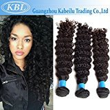 "KBL Grade 5A 3 Bundles Brazilian Deep Wave Hair Extensions 100% Unprocessed Brazilian Virgin Human Hair Natural Black #1B (10"" 10"" 10"")"