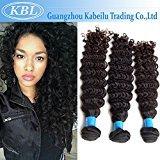 """KBL Grade 5A 3 Bundles Brazilian Deep Wave Hair Extensions 100% Unprocessed Brazilian Virgin Human Hair Natural Black #1B (12"""" 12"""" 12"""")"""