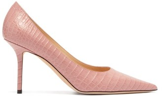 Jimmy Choo Love 85 Crocodile-effect Leather Pumps - Light Pink