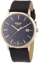 Boccia Boy's Quartz Watch with Black Dial Analogue Display and Brown Leather Strap B3557-05