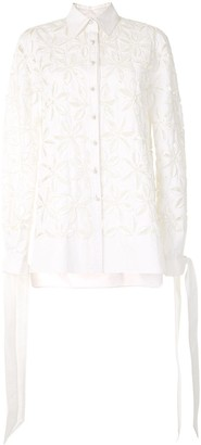 Carolina Herrera Floral Cut-Out Tie Sleeves Blouse