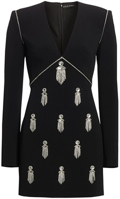 David Koma Hanging Crystals Long-Sleeve Mini Dress