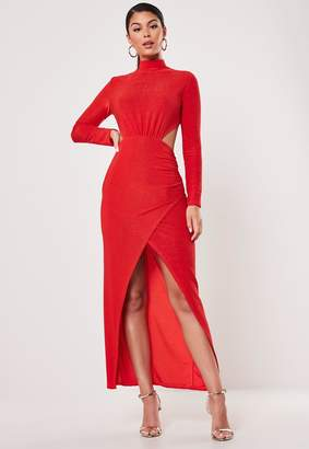 Missguided Petite Red Sparkle Cut Out Wrap Maxi Dress