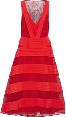 Valentino Paneled Pintucked Washed-silk And Chantilly Lace Midi Dress