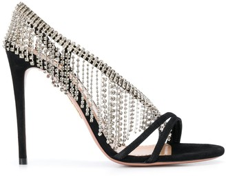 Aquazzura Wild Fringe Crystal 105mm sandals
