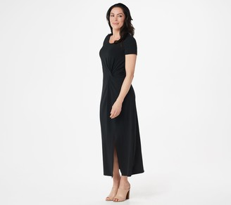 Halston H by Petite Short-Sleeve Twist Front Maxi Dress