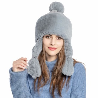 foci cozi Winter Faux Fur Women Winter Hat with Ear Flap Pom pom Knitted Trapper Russian Aviator Trooper Hat Winter Snow Girls Hat (Grey)