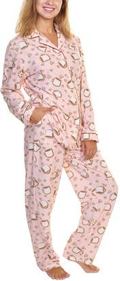 Angelina Women's Sleep Bottoms Coffee - Light Pink & Brown Coffee Button-Up Fleece Pajama Set - Women