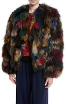 Alice + Olivia Becky Multicolor Reversible Fur Bomber Jacket