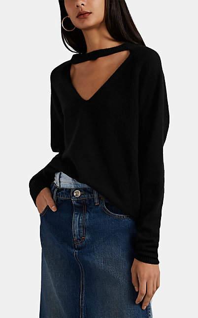 Maison Margiela Women's Cutout V-Neck Sweater - Black