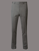 Autograph Grey Textured Slim Fit Wool Trousers