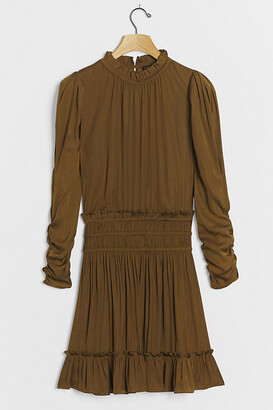 Serena Pleated Mini Dress By Current Air in Green Size XS