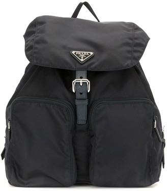 Prada Pre-Owned Triangle Logo Drawstring Backpack