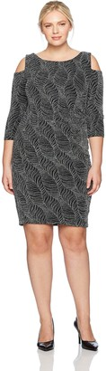 Sangria Women's Plus Size Cold Shoulder Metallic Knit Dress