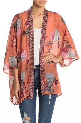 Dr2 By Daniel Rainn Drawstring Tie Chiffon Kimono