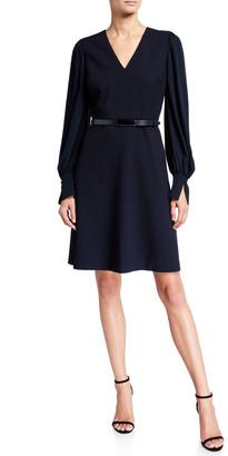 Elie Tahari Hale V-Neck Long-Sleeve Belted Dress