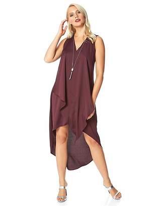 Roman Originals Roman Satin Necklace Trim Swing Dress