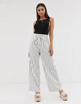 Asos Design DESIGN linen wide leg pants with paperbag waist and belt in stripe